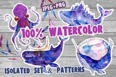 Watercolor patterns.Whale & cristall by papaNebo on @creativemarket