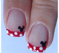 Mickey Mouse French tip nails