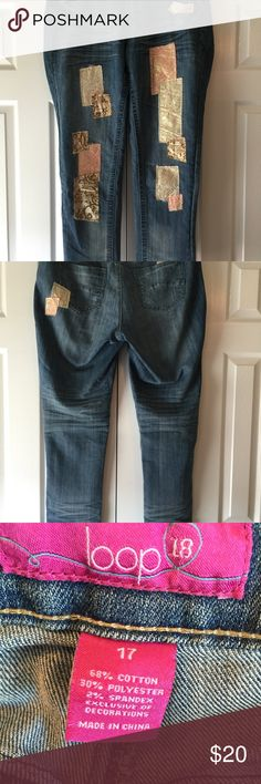 Loop18 Patchwork jeans Adorable patchwork jeans in mint condition new without tags from a smoke free and dog friendly home. Loop18 Jeans Ankle & Cropped