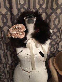 This stole is so extra unique!  I handmade the flowers on it and then added the Art Deco brooch in the center.  They are removable so you can wear just the super soft real vintage fur stole over a sweater or with your favor coat!  - $89.99