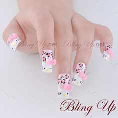 Hello Kitty Inspired French Nail Art Hello Kitty Style by blingup