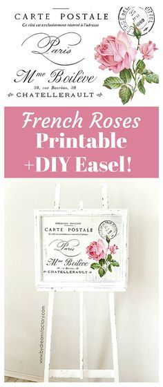 Shabby French Roses Furniture Transfer + DIY Easel Project!  By Diana from Dreams Factory for Graphics Fairy! A beautiful Free Shabby Style Printable and project instructions.