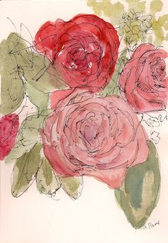 Red and pink roses watercolor painting: art print 8.5x11. $18.00, via Etsy.