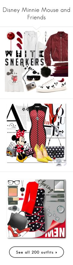 """""""Disney Minnie Mouse and Friends"""" by yours-styling-best-friend ❤ liked on Polyvore featuring black, red, disney, mickeymouse, minnie, Topshop, MANGO, Lands' End, MOA Master of Arts and Serge Lutens"""