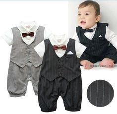 0132e99713f5 Newborn -24M Baby Toddlers Boy Dress Formal Tuxedo Suit Romper