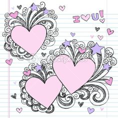 Cute Doodles In Notebook | ... Valentine's Day Love Heart Notebook Doodles — Stock Vector #5535559