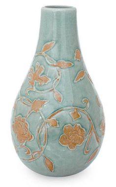 Thai Celadon Ceramic Vase - Orchid Vine   NOVICA