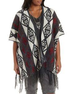 Plus Size Aztec Poncho Cardigan Sweater