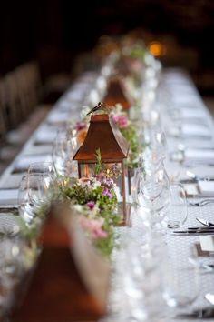 Metallic Inspiration: Copper - The Bride's Guide : Martha Stewart Weddings Gold Wedding Decorations, Party Decoration, Wedding Centerpieces, Wedding Table, Table Decorations, Wedding Reception, Copper Wedding, Purple Wedding, Fall Wedding