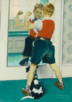 View The Muscleman by Norman Rockwell on artnet. Browse upcoming and past auction lots by Norman Rockwell. Norman Rockwell Prints, Norman Rockwell Paintings, Penguin Books, Peintures Norman Rockwell, Vintage Posters, Vintage Art, Dog Illustration, Arte Pop, Dog Art