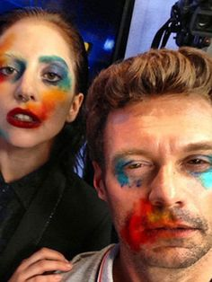 Lady Gaga Gives Ryan Seacrest a Makeover, Coco Rocha Chops It All Off, and the Mystery Behind Jeffrey Campbell Lady Gaga Artpop, Lady Gaga Makeup, Clown Makeup, Hair Makeup, Lady Gaga Memes, 7 Arts, Lady Gaga Photos, Makeup Makeover, Ryan Seacrest