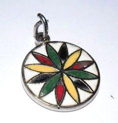 Vintage Flower Enamel Pennsylvania Dutch Sterling Silver 925 Charm Pendant | eBay