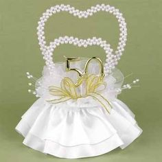 Hortense B. Hewitt Wedding Accessories 50th Anniversary Pearl Heart Cake Top > Huge discounts available now! : Baking supplies