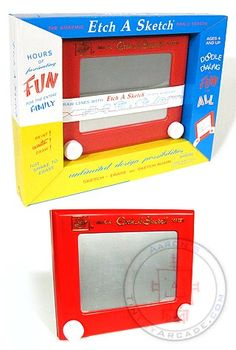 Etch A Sketch. As a kid who ever made anything but stairs or tried to make the whole thing grey by going back and forth with the smallest gaps imaginable??