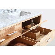 "Design Element London 72"" Double Bathroom Vanity Set with Open Bottom - Oak   Free Shipping - Modern Bathroom 72 Double Sink Vanity, Double Sink Bathroom, Vanity Set With Mirror, Bathroom Sink Vanity, Wood Bathroom, Modern Bathroom, Bathroom Ideas, Under Cabinet Shelf, Solid Wood Cabinets"