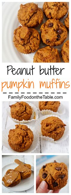 Whole wheat, naturally sweetened peanut butter pumpkin muffins, with optional chocolate chips!