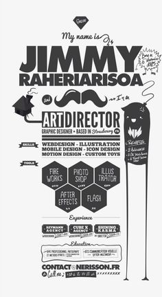 Infographic resume collection that can get you hired. See how infographic elements are used in order to create a professional resume that jumps off. Cv Inspiration, Graphic Design Inspiration, Graphic Design Resume, Typography Design, Graphic Designer Cv, Typo Design, Web Design, Design Social, Design Layouts