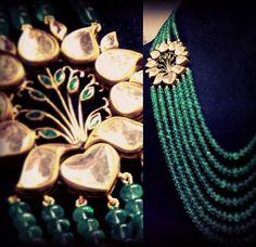 Lotus side pendant with emerald strands Emerald Jewelry, Gemstone Jewelry, Diamond Jewelry, Gold Jewelry, Beaded Jewelry, Jewelery, India Jewelry, Jewelry Patterns, Wedding Jewelry