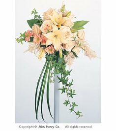 Learn how to make bridal bouquet designs like a florist. Buy bulk discount wedding flowers and professional florist supplies List Of Flowers, Peach Flowers, Bridal Flowers, Trailing Bouquet, Broach Bouquet, Wedding Beauty, Dream Wedding, Wedding Stuff, Wedding Ideas