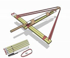 How to make a crossbow out of pencils, a pen, and some rubber bands.