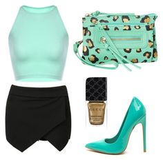 Mint green & black outfit by xxlove-fashionxx on Polyvore featuring polyvore, moda, style, T-shirt & Jeans, Gucci, fashion and clothing
