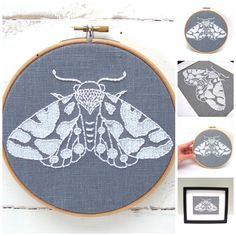 DIY embroidery hoop art kit! Stitch your way to bliss with this moth embroidery kit. A fresh design combined with quality materials and easy-to-follow instructions make this a delightful experience fo