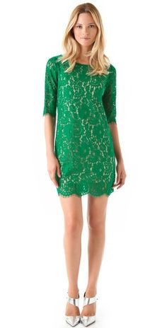 Robert Rodriguez Lace Shift Dress-green lace short dress w/three quarter length sleeves, and silver heels.