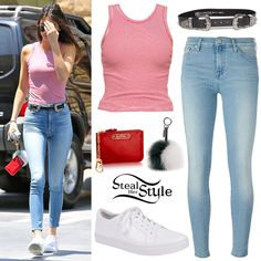 Kendall Jenner was spotted stopping at a gas station in Calabasas wearing the Brandy Melville Kaya Tank ($18.00), 7 For All Mankind Cropped Stone Washed Jeans ($145.92), The Bri Bri Black + Silver Belt by B-Low The Belt ($148.00), her Louis Vuitton Red Key Pouch ($390.00), a Fendi Pompon Bag Charm (£250.00 – wrong color), and a pair of Kenneth Cole Kam Sneakers ($106.95).