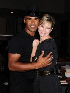 Shemar Moore and Meredith Monroe (Derek Morgan and Haley Hotchner) are too cute in this pic taken at the CM's 100th Episode Party.