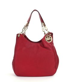 NWT MICHAEL Michael Kors Fulton Red Leather Large Shoulder Bag Tote New $398 #MichaelKors #ShoulderBag