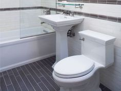 alexia dives posted slate-look ceramic tile floor and white subway tile bath/shower surround to their -bath ideas- postboard via the Juxtapost bookmarklet. White Subway Tile Bathroom, Bathroom Floor Tiles, Bathroom Renos, Small Bathroom, Bathroom Ideas, Downstairs Bathroom, Subway Tiles, Bathroom Layout, Master Bathroom
