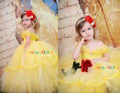 Belle tutu dress Beauty and the Beast yellow marigold nb-4t. $109.95, via Etsy.