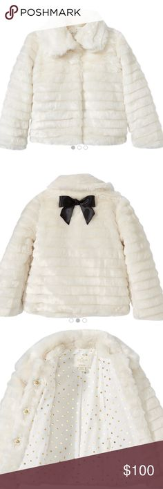 Kate Spade ♠️Host Pick 🎉🎉 Little Girls Faux Fur cream jacket lined with pockets brand new kate spade Jackets & Coats