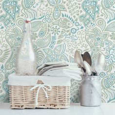 Dreamy Natural Paisley Pattern Semi-Gloss Wallpaper Roll East Urban Home Size: x Material quality: Standard Laundry Basket, Wicker, Paisley, Picnic, Home Decor, Sweet Home, Products, Houses, Pictures