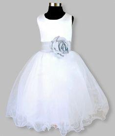 Girls party, flower girl dress white and silver – Posh Tots Tea Length Skirt, Tea Length Dresses, Formal Dresses, Wedding Dresses, White Flower Girl Dresses, White Dress, Silver Dress, Special Occasion Dresses, Party Dress