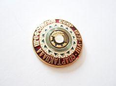 Rare Soviet vintage badge Labor Union Sports Games Summer Spartakiada pin Large badge USSR Labor Union VIII Summer sport Games 1975