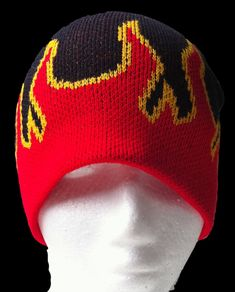 Lets see if I can crochet this for birthdayboy - KNIT FLAMES FLAME FIRE HOT BEANIE HAT MEN WOMAN UNISEX
