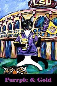 The Creole Cat Minou celebrating LSU