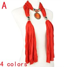 Red Pendant Scarves - Fashion Jewel Beads Pendant Jewellery Scarf, NL-1806A