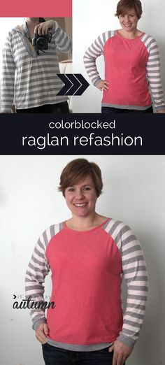 what a cute #sewing project! learn how to #refashion a thrifted women's shirt into a trendy color blocked top.