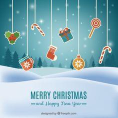 クリスマスの要素のある風景の背景 無料ベクター