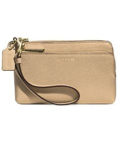 Coach Double L-Zip Wristlet In Saffiano Leather (Light Gold/Tan)