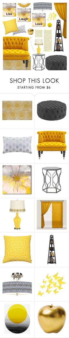 """Think yellow"" by andreamilles on Polyvore featuring interior, interiors, interior design, home, home decor, interior decorating, Rugs America, Ink & Ivy, Ready2hangart and Cost Plus World Market"
