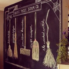 inspired by charm: Hocus Pocus Broom Co. : inspired by charm: Hocus Pocus Broom Co. Halloween Tipps, Casa Halloween, Holidays Halloween, Halloween Crafts, Happy Halloween, Halloween Decorations, Halloween Ideas, Halloween Mantel, Halloween Witches