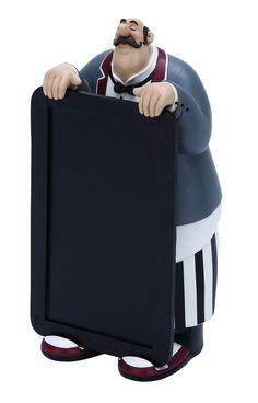 "Fat Chef - Polystone Waiter W Chalkboard 10""H, 5""W"