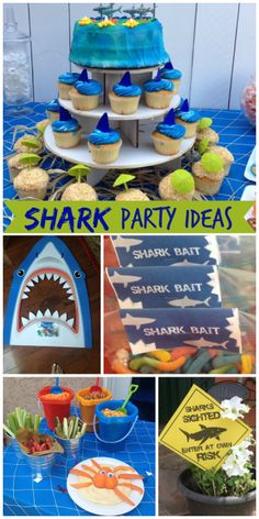 shark swim party is such a great theme for a boy birthday, lots of under the sea ideas! See more party ideas at ! Swim Birthday Parties, 1st Boy Birthday, Birthday Party Themes, Birthday Ideas, Water Party, Shark Party, Hai, Just For You, Sharks