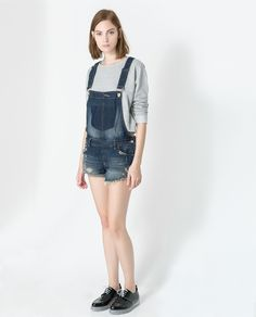short denim jumper (zara) (good alternative for the denim short-all from american apparel) Denim Pullover, Denim Jumper Dress, Denim Shorts, Zara Portugal, Overall Shorts, American Apparel, Overalls, My Style, Womens Fashion