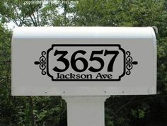 Mailbox Vinyl Decal Sticker Personalized with Address - Instead of street name do last name.  Find a way to do this on the cricut!