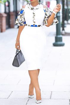 Print Mid-Calf Half Sleeve Off-The-Shoulder White Bodycon Dress African Fashion Ankara, Latest African Fashion Dresses, African Print Fashion, Nigerian Fashion, Ghanaian Fashion, Africa Fashion, Short African Dresses, African Print Dresses, African Prints