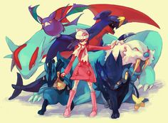 Have a picture of myself photoshopped with my Pokemon dream-team.